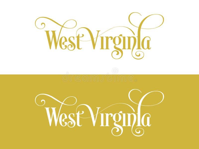 Tipografia Di U.S.A. Virginia States Handwritten Illustration ad ovest sul funzionario U S Colori dello stato illustrazione vettoriale
