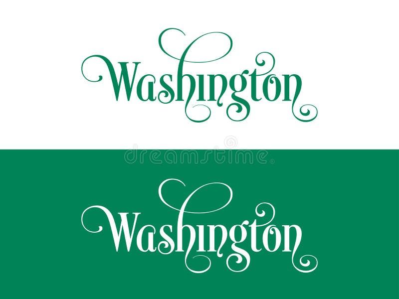 Tipografia Di U.S.A. Washington States Handwritten Illustration sul funzionario U S Colori dello stato illustrazione di stock