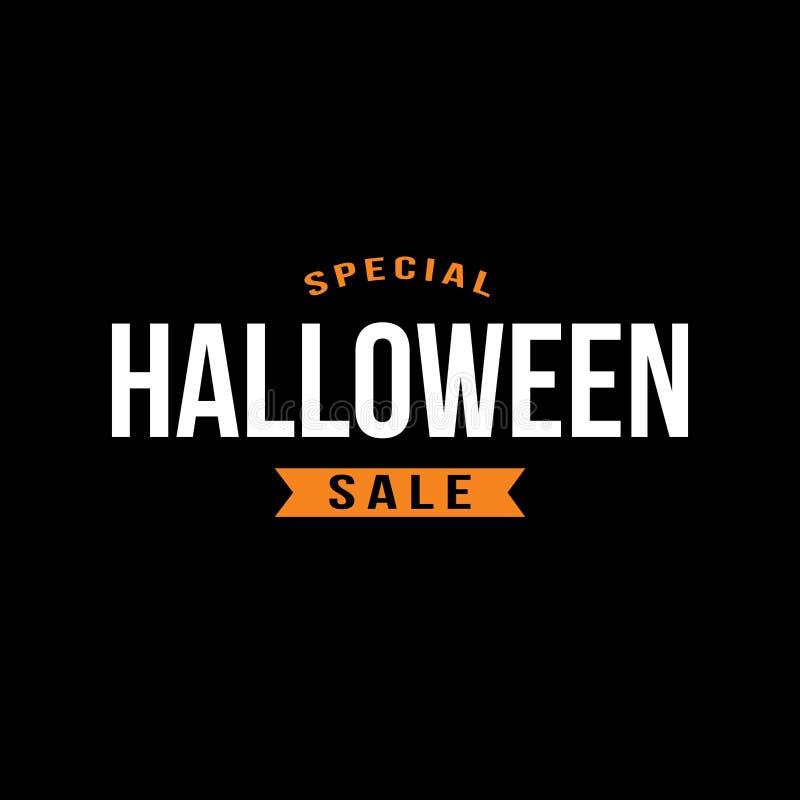 Tipografia di vendita di Halloween dello speciale con il nastro sopra il nero, illustrazione di vettore illustrazione di stock
