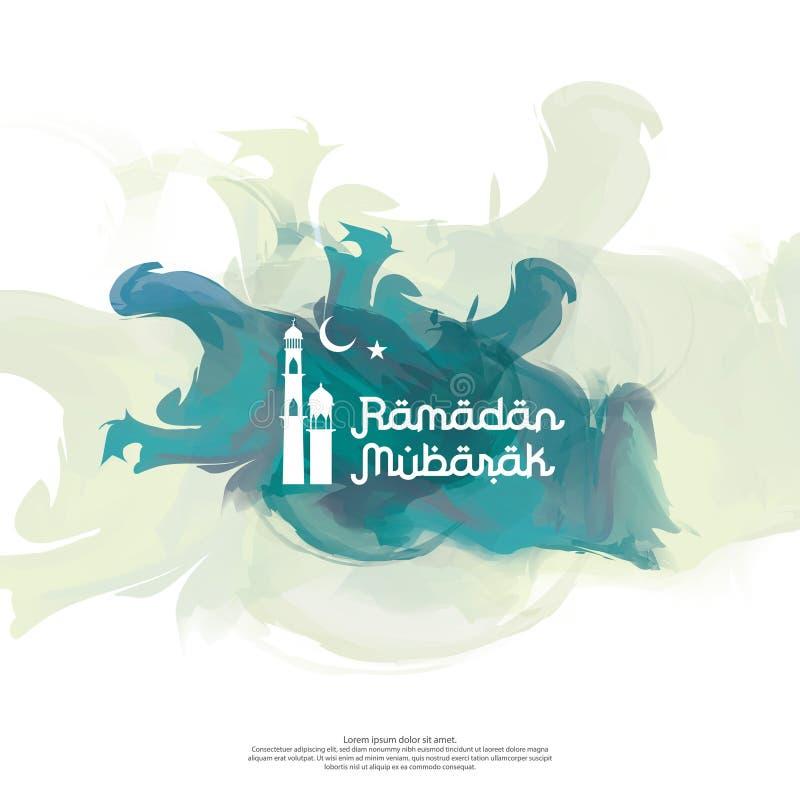 Tipografia di vettore di Ramadan Mubarak per la celebrazione islamica di progettazione Concetto accogliente del eid o di Ramadan  royalty illustrazione gratis