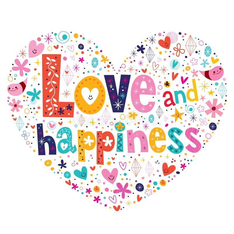 A tipografia do amor e da felicidade que rotula o coração decorativo do texto deu forma ao projeto ilustração royalty free