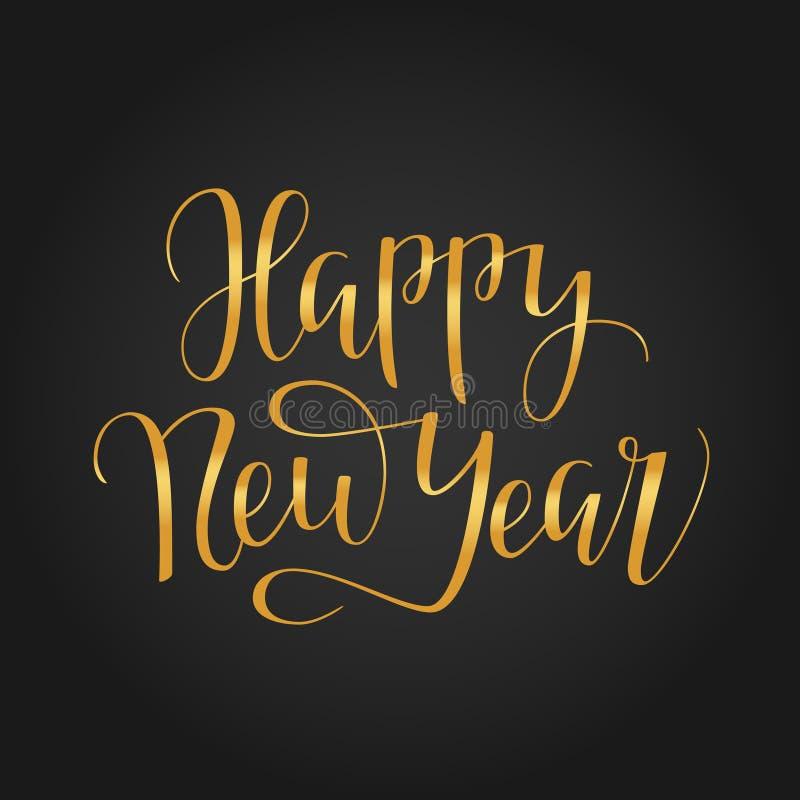 Tipografia 2018 do ano novo feliz no fundo preto imagens de stock