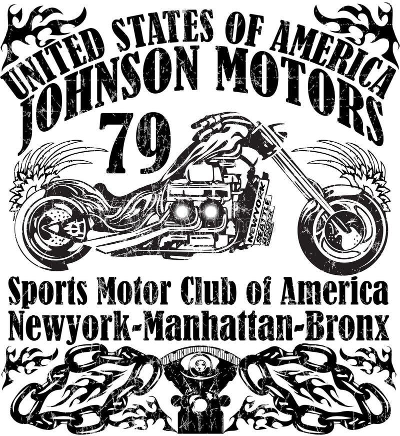Tipografia do canal adutor da motocicleta, gráficos do t-shirt, vetores ilustração royalty free