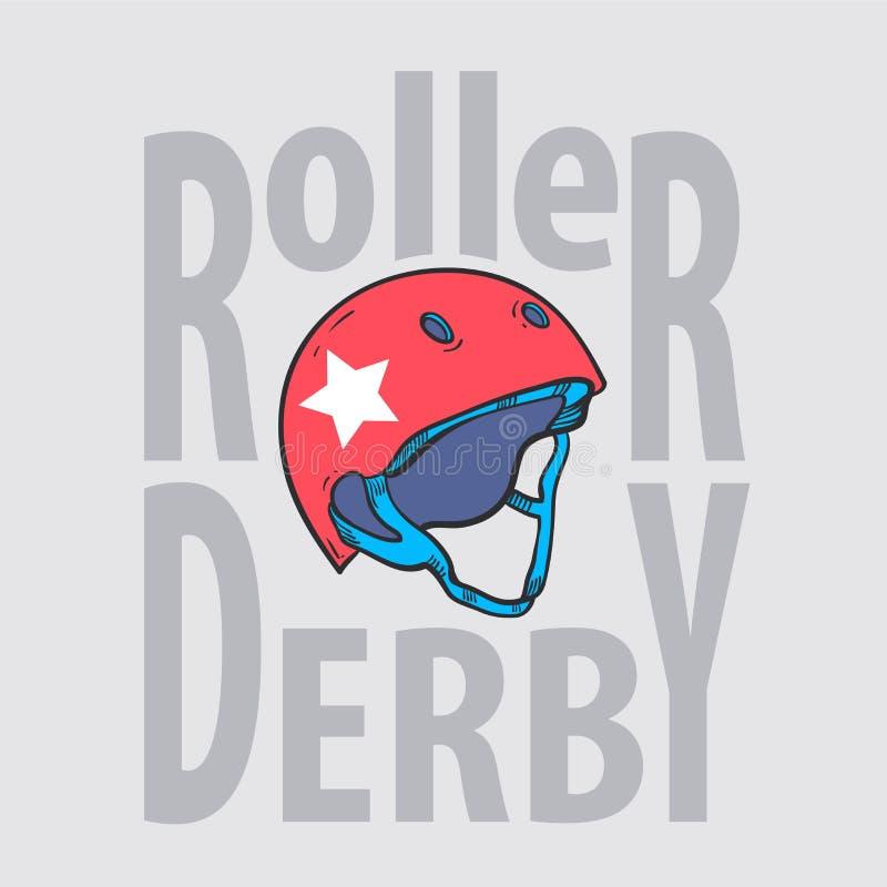 Tipografia do capacete do derby do rolo, gráficos do t-shirt ilustração royalty free