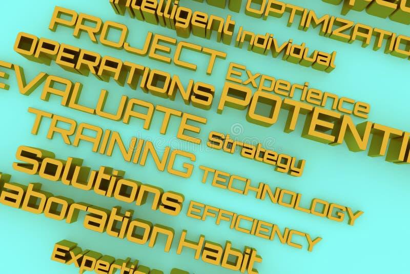 Tipografia do cgi, palavras-chaves relacionadas com o mercado para a textura do projeto, fundo Treinamento, estratégia, operações ilustração do vetor