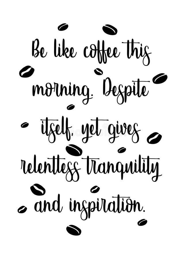 Tipografia do copo de café das citações ilustração do vetor