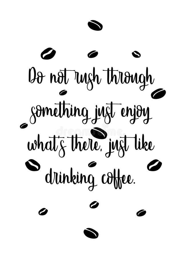 Tipografia do copo de café das citações ilustração stock