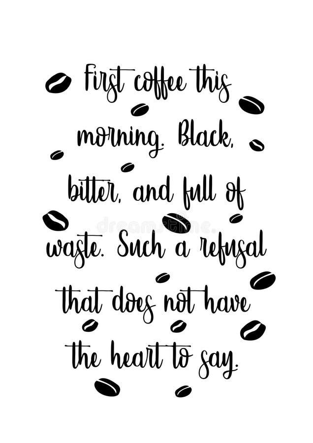 Tipografia do copo de café das citações ilustração royalty free