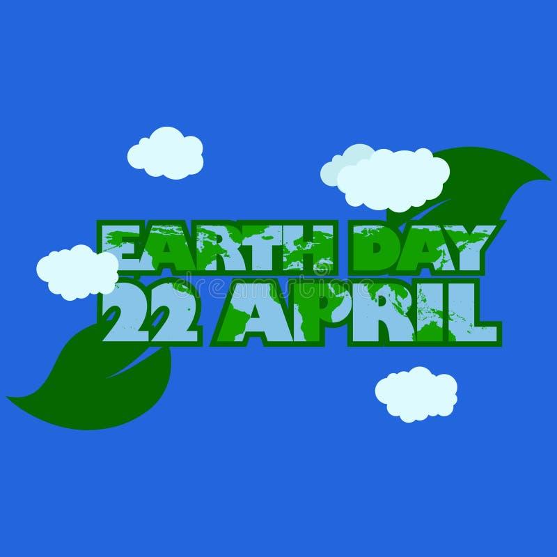 A tipografia do Dia da Terra com interior verde do esboço e da folha da tipografia tem o mapa da terra ao redor da ilustração tem ilustração royalty free