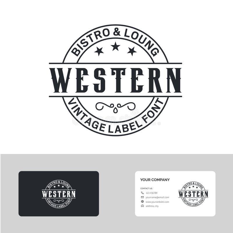 Tipografia do emblema do país do vintage para a inspiração ocidental do projeto do logotipo da barra/restaurante - vetor ilustração royalty free