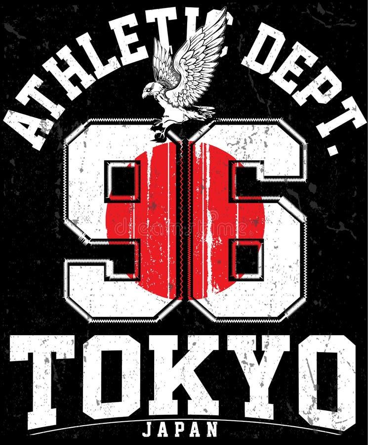 Tipografia do esporte atlético do Tóquio, gráficos da camisa de t, vetores ilustração stock