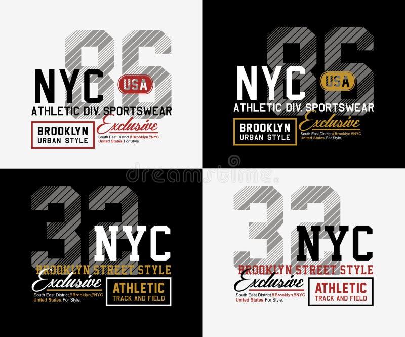 Tipografia do esporte atlético NYC Brooklyn para a cópia da camisa de t ilustração royalty free