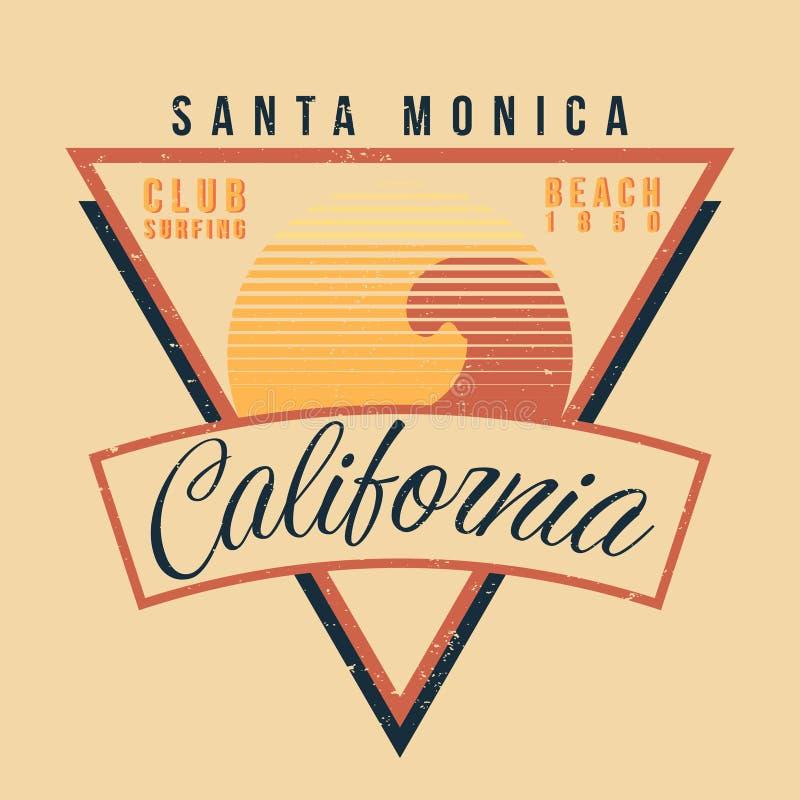Tipografia do esporte da ressaca de Califórnia Estilo 80s gráfico da camisa do vintage t ilustração royalty free