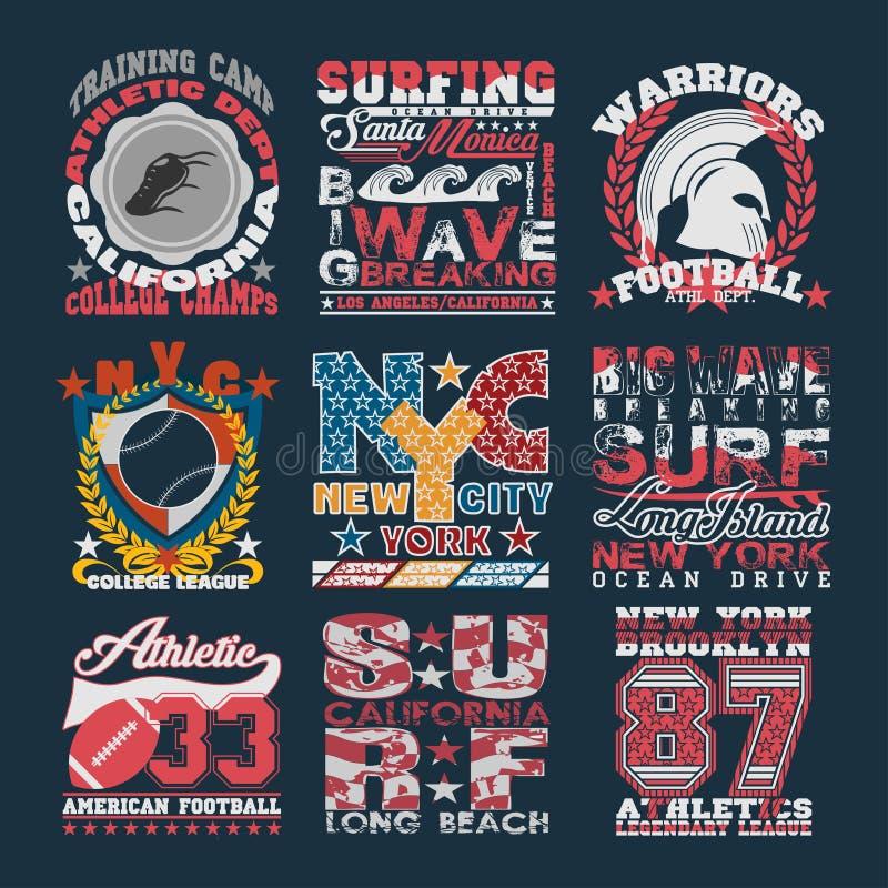 A tipografia do esporte, gráficos simboliza o grupo, t-shirt que imprime o projeto ilustração royalty free