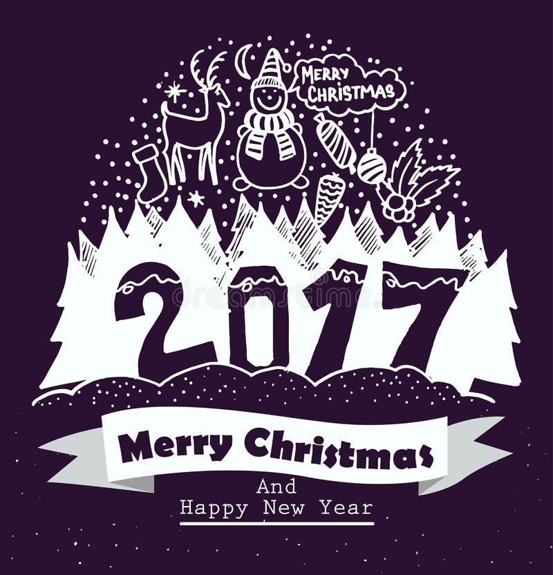 A tipografia do Feliz Natal e do ano novo feliz projeta com elementos do desenho da mão Ilustração isolada do vetor ilustração stock