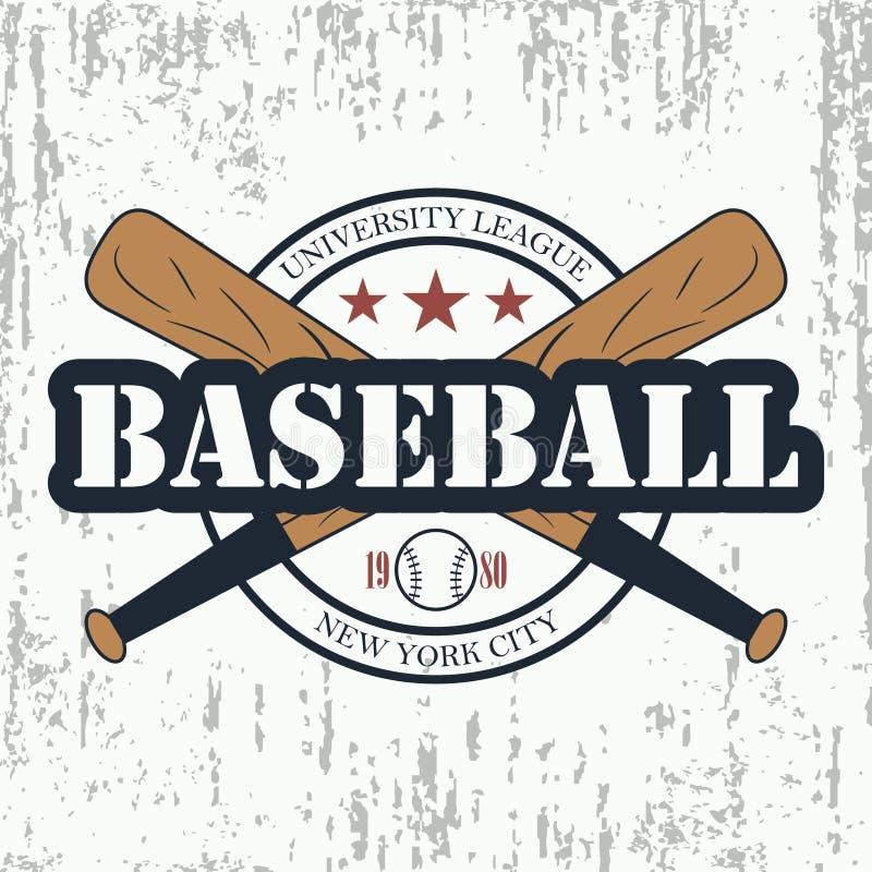 Tipografia do grunge do basebol Liga da universidade de New York Projete o sportswear, cópia para o t-shirt, selo do fato Vetor ilustração do vetor