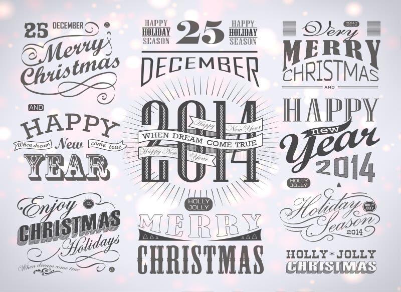 Tipografia do Natal e do ano novo feliz ilustração royalty free