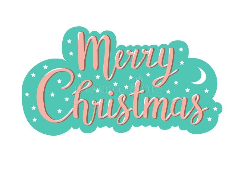 Tipografia do Natal, escrita que rotula o projeto de cartão ilustração do vetor