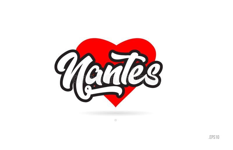 tipografia do projeto da cidade de nantes com logotipo vermelho do ícone do coração ilustração royalty free