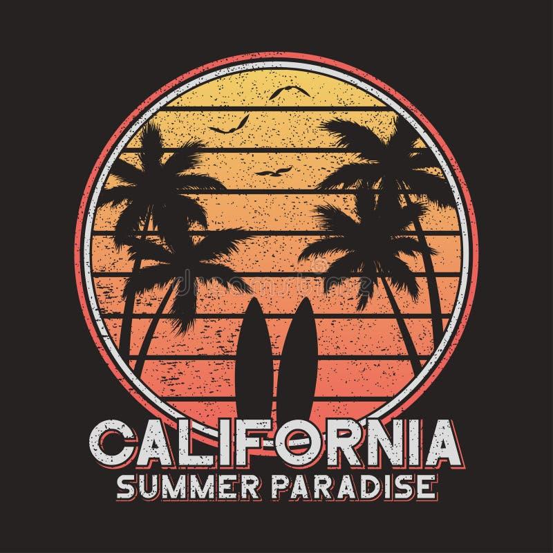 Tipografia do slogan de Califórnia para a roupa do projeto, t-shirt Projeto do t-shirt da ressaca com palmeiras e prancha Vetor ilustração stock
