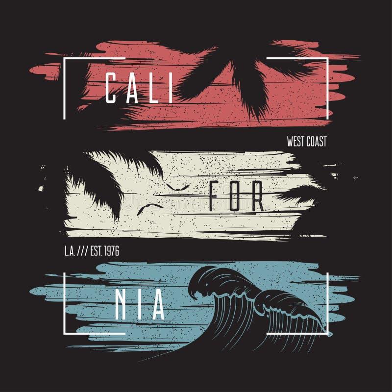 Tipografia do t-shirt de Califórnia com fundo do grunge da cor, onda e silhuetas das palmeiras Projeto na moda do fato Vetor ilustração stock