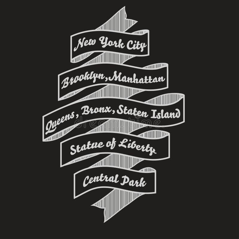 Tipografia do t-shirt de New York City, cópia da forma do nyc Vetor ilustração do vetor