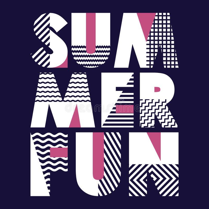 Tipografia do t-shirt do divertimento do verão, ilustração do vetor ilustração stock