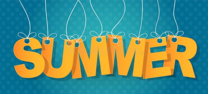 Tipografia do texto do verão Letras que haning em uma corda em um fundo azul Ilustra??o do vetor ilustração stock
