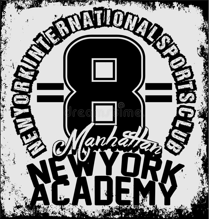 Tipografia do treinamento do esporte atlético de New York, gráficos do t-shirt, v ilustração royalty free