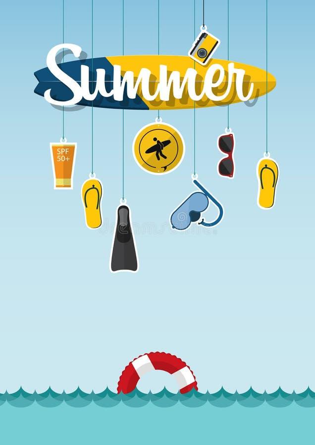 A tipografia do verão na praia com ícones ajustou-se do curso no projeto liso Vetor ilustração do vetor