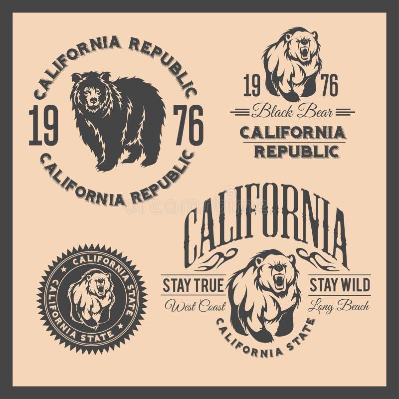 Tipografia do vintage da república de Califórnia com um urso pardo ilustração do vetor