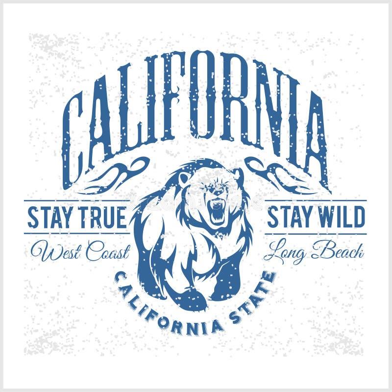 Tipografia do vintage da república de Califórnia com um urso pardo ilustração stock