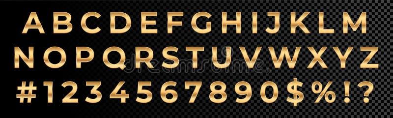 Tipografia dourada do alfabeto dos números e das letras de fonte Tipo da fonte do ouro do vetor com ouro do metal 3d ilustração do vetor