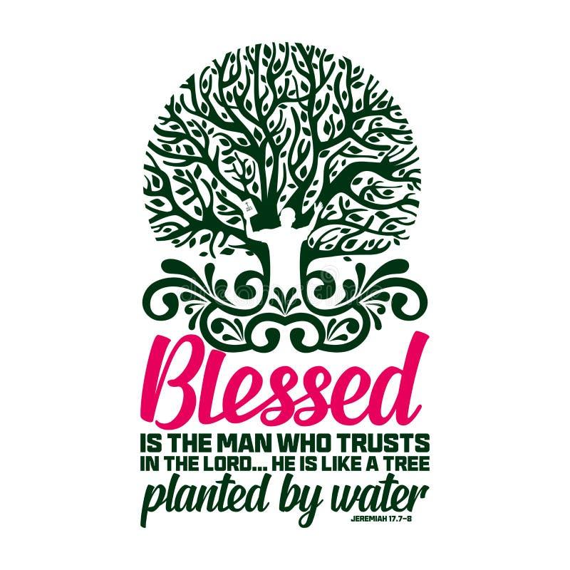 Tipografia e rotula??o crist?s Ilustra??o b?blica Blessed é o homem que confia no senhor ilustração royalty free