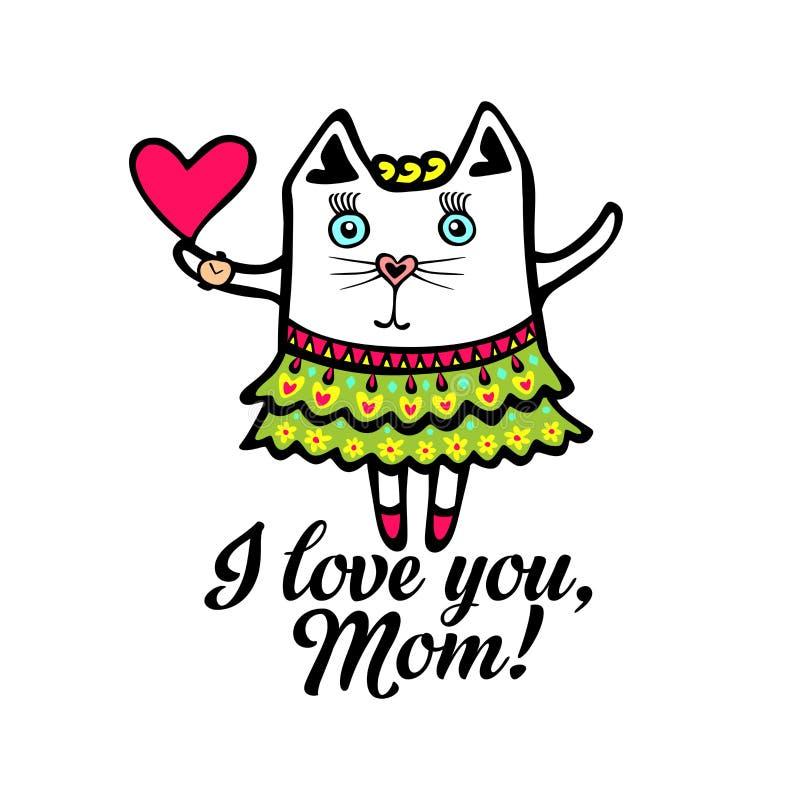 Tipografia ed iscrizione con gli elementi di progettazione pussycat Ti amo, mamma! illustrazione vettoriale