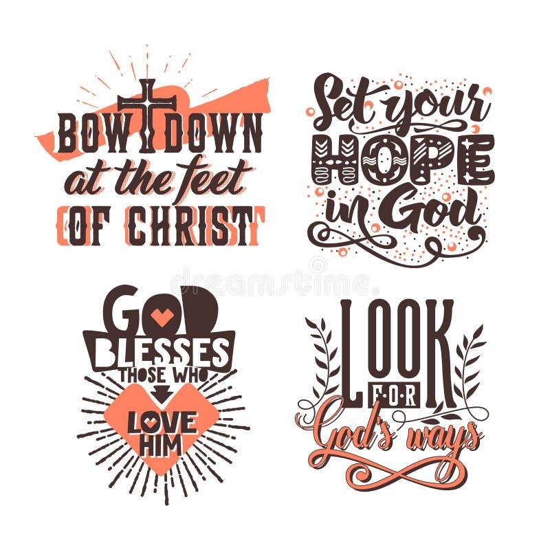Tipografia ed iscrizione cristiane Illustrazioni delle frasi bibliche illustrazione di stock