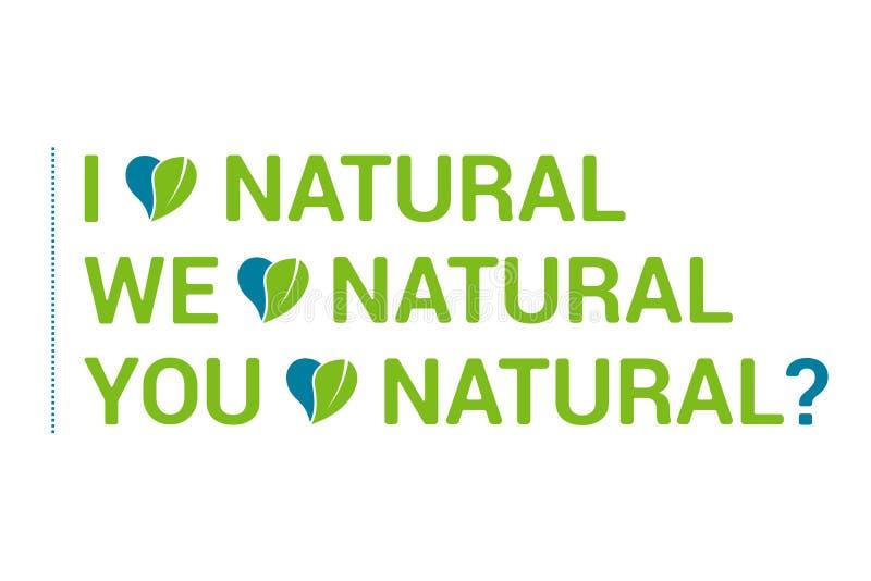 Tipografia eu amo as citações naturais ajustadas, coração com licença verde Eco cita ilustração royalty free