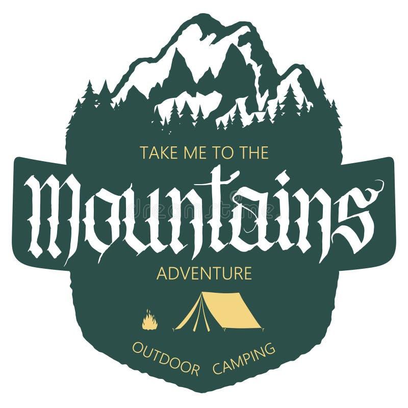 Tipografia exterior da expedição da montanha ilustração do vetor