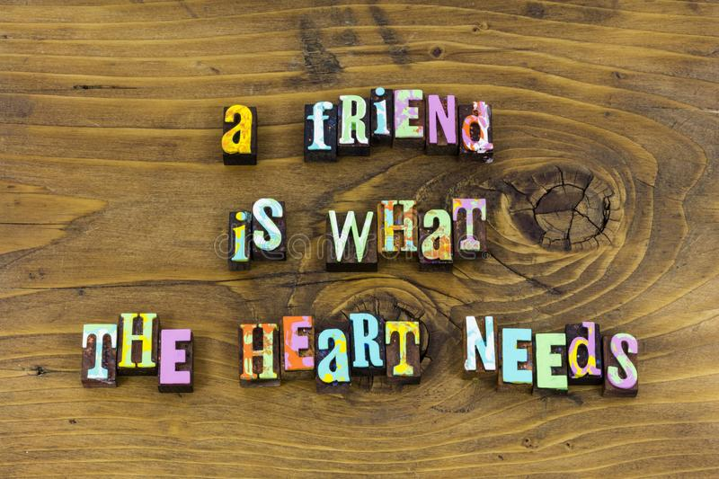 Tipografia felice di amore di speranza di gioia del cuore dell'amico immagini stock
