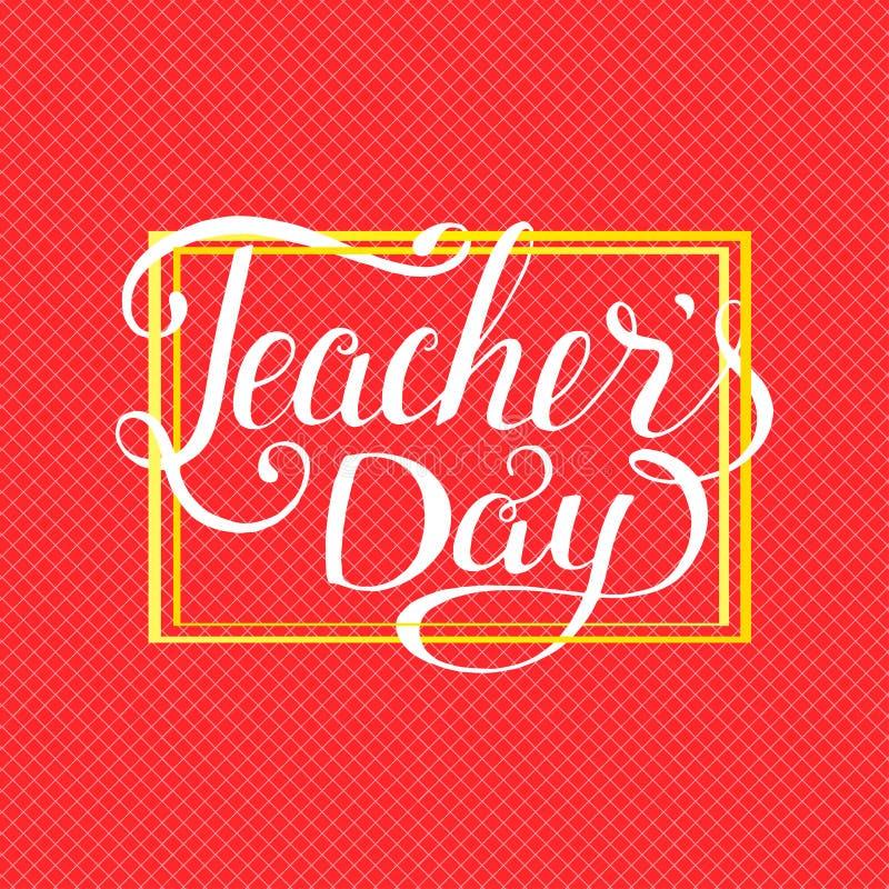 Tipografia felice di giorno degli insegnanti Progettazione di iscrizione per la cartolina d'auguri immagini stock