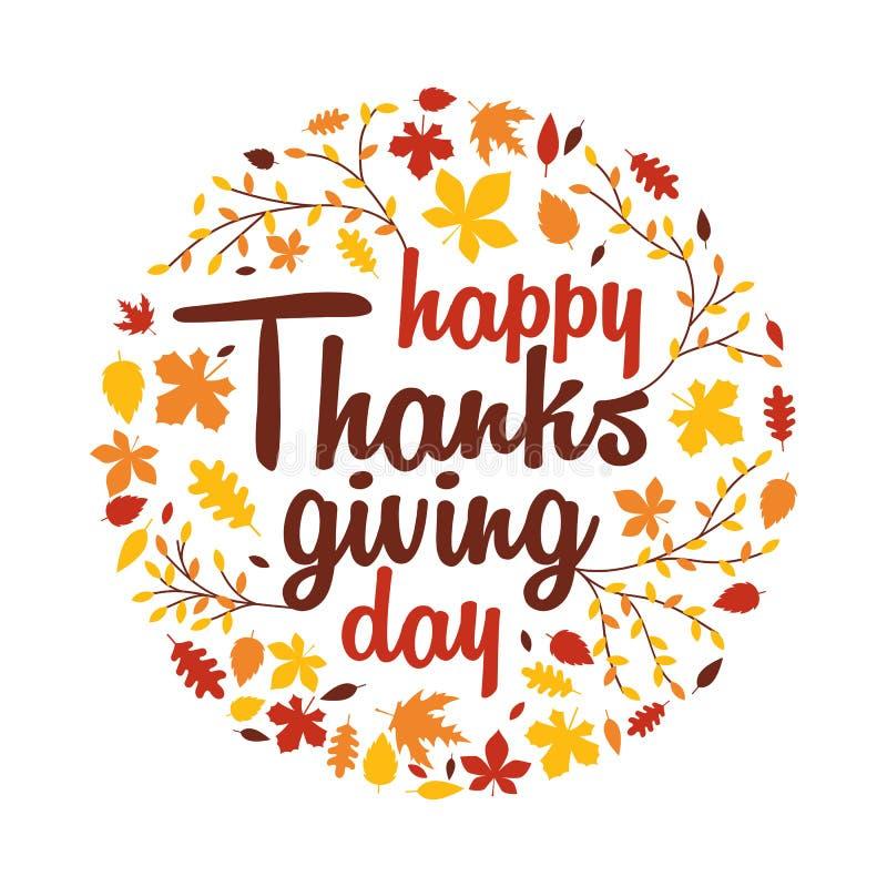 A tipografia feliz do dia da ação de graças com completamente da queda do outono deixa a decoração do ornamento ilustração royalty free