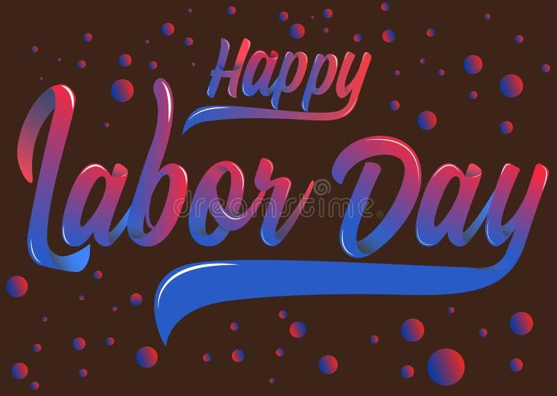 Tipografia líquida do Dia do Trabalhador feliz ilustração stock