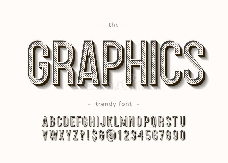 Tipografia moderna corajosa do alfabeto 3d dos gráficos de vetor ilustração royalty free