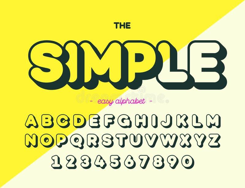 Tipografia moderna da fonte simples Estilo da tendência do alfabeto para imprimir, decoração ilustração royalty free