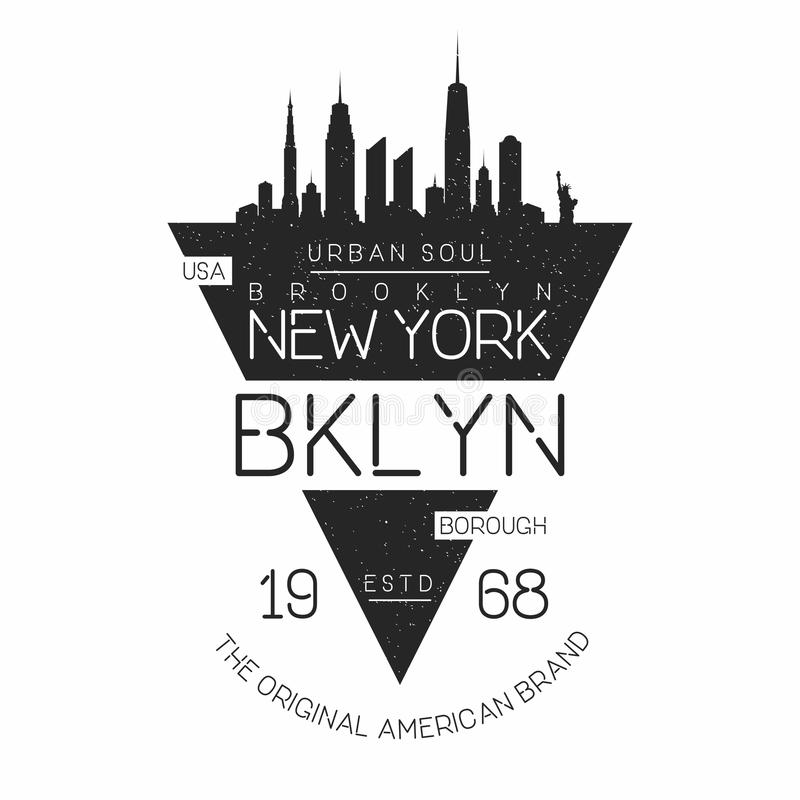 Tipografia moderna di New York, Brooklyn per la stampa della maglietta Siluetta dell'orizzonte di New York Grafici della magliett illustrazione vettoriale