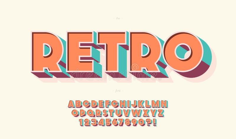 Tipografia moderna do estilo 80s de fonte tridimensional retrô ilustração royalty free