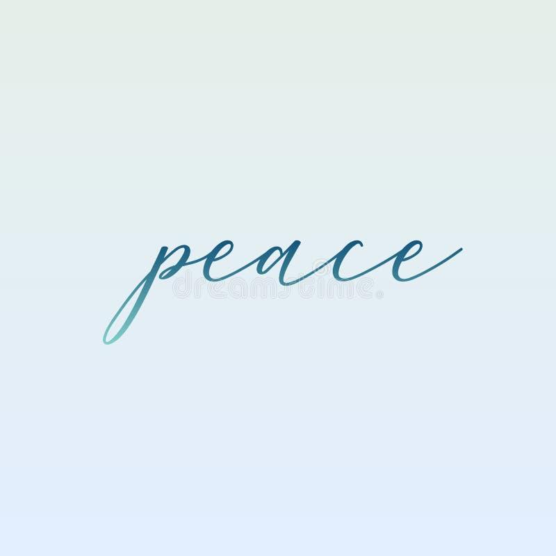 Tipografia motivazionale di pace nel colore verde morbido illustrazione di stock
