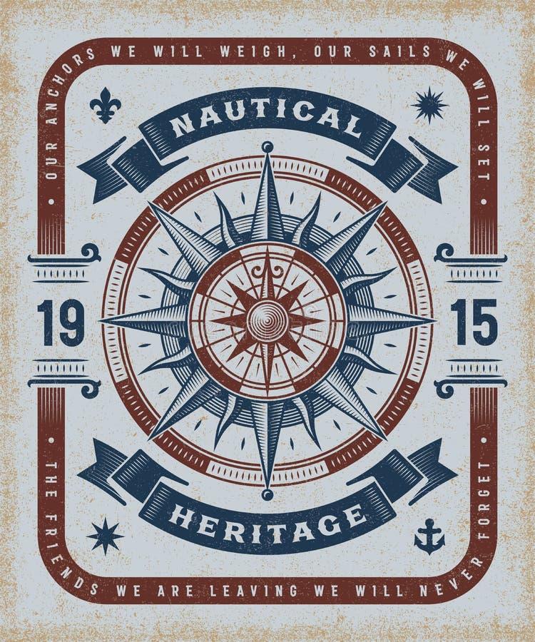 Tipografia nautica d'annata di eredità illustrazione vettoriale