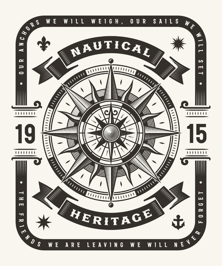 Tipografia nautica d'annata di eredità un colore illustrazione vettoriale