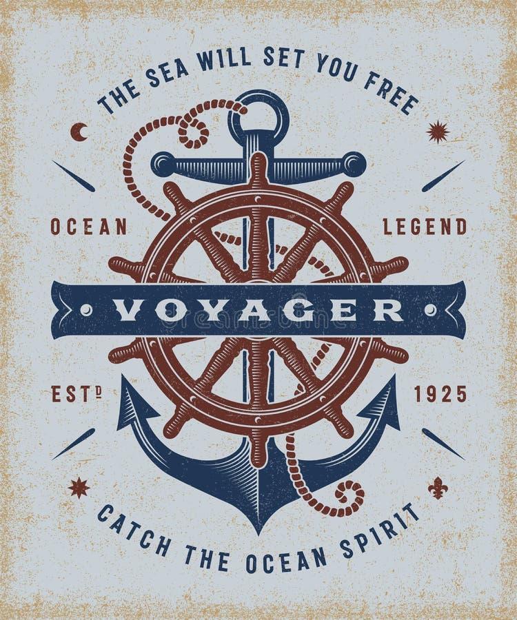 Tipografia nautica d'annata di Voyager royalty illustrazione gratis
